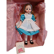 """MIB 14"""" Vinyl and Plastic """" Alice """" in Wonderland Doll #1552, Madame Alexander, Tagged with Brochure, Pink Paper and Cardboard"""