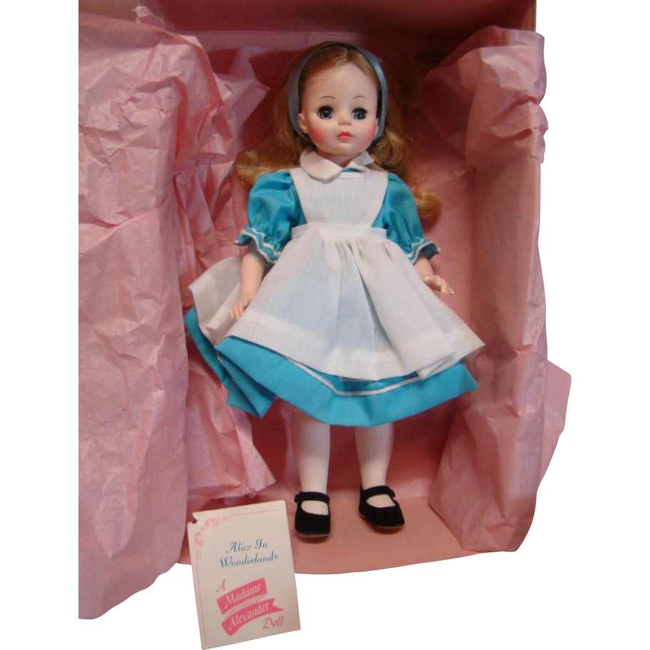 "MIB 14"" Vinyl and Plastic "" Alice "" in Wonderland Doll #1552, Madame Alexander, Tagged with Brochure, Pink Paper and Cardboard"