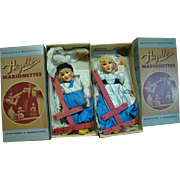 Mint in Boxes Hazelle's Marionettes Composition Dutch Boy and Dutch Girl Pair 12 Inches Tall, Made in Kansas City, MO