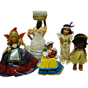 Collection of 5 Original Souvenir Dolls, 2 Cloth, 1 Composition and 2 Plastic, All in Native Costumes and in Mint Condition, 1930's-1940's