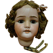 German Bisque Head Only by Simon Halbig for C. M. Bergmann to Make a 28-29 In. Doll - As Is - with Cracks, Unprofessional Repaired