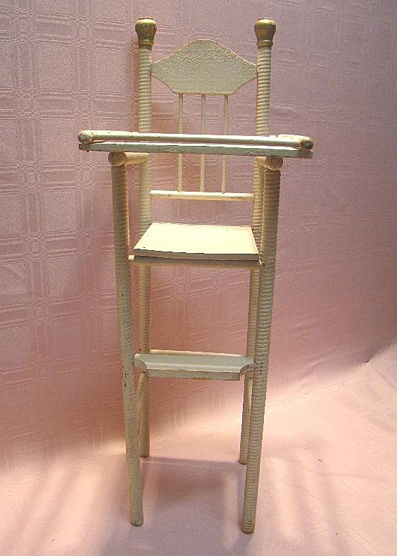 Roll over Large image to magnify, click Large image to zoom - Antique Wooden High Chair For 12-15 Inch Doll, Spiral Design