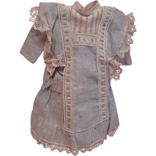 Lovely Vintage Pale Blue Cotton Drop Waist Dress for 12-13 In. German or French Doll, Threaded Blue Silk Ribbon, Lace Trim, Bertha Collar