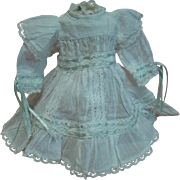 Cutest Vintage Cotton Dress with Blue Ribbon Threaded in Cotton Trim, Epaulets, for a 12-13 In. German or French Doll