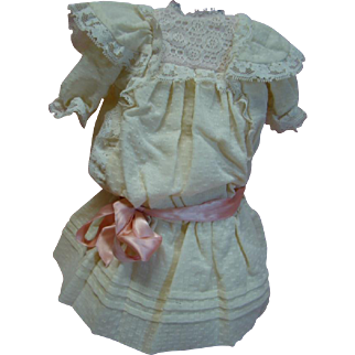 Vintage Ecru Dotted Swiss Drop Waist Dress for a 20-22 In. Doll, Lace Trim, Pink Silk Ribbon Sash, Built-in Half Slip, Lined Bodice