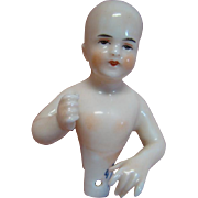 3 In. Bald Open Pate Glazed Porcelain Half Doll by Dressel and Kister, Germany, Blue DK Symbol on Base; Beautiful Model