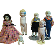 Lot of 6 Bisque Dolls, 1 Made in Germany, 5 Made in Japan, Two Originally Dressed, Cute for Play Dolls for Big Dolls
