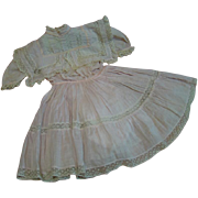 Antique Soft Pink Lawn Fabric Doll Dress, Bertha Collar, Insertion Lace, Gathers, Silk Ribbon Sleeve and Waist Bands, High Neck Collar, Awesome!