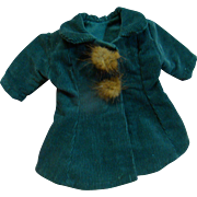 Warm Blue Corduroy Coat / Dress with Fur Closures for Cabinet Size Antique Doll 11-13 Inches