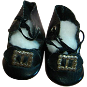 Very Nice Condition Antique Black Oilcloth Doll Shoes with Original Black Bow and Silver Buckle on Toes, Original Black Ties