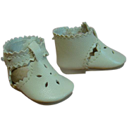 Adorable Vintage Replacement Off-White Vinyl Shoes with Cutouts and Button Ankle Straps Along with Vintage Off-White Socks to Fit Shoes