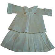 Adorable Antique Two-Piece Two-Toned Linen Outfit for a Child Doll Approximately 15-16 in. Tall; Pleated Skirt, Nautical Jacket