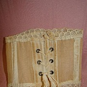 Doll Corset with Laced Front and Lace Trim for Antique Doll