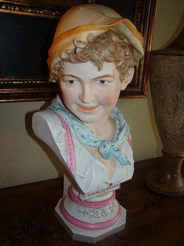 18 Inch Bisque Figural Bust of Young Man by M. Poli