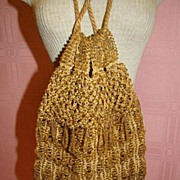 Gorgeous Vintage Gold Beaded Purse with Drawstrings, 1920's