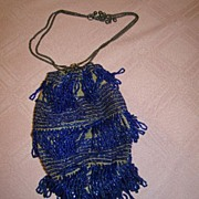 Stunning Blue Glass Beaded Vintage Purse, 1920's, Great Style!