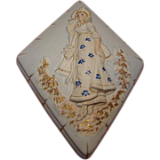 Unique Diamond Shaped Porcelain Dresser Box with Beautiful Lady Motif