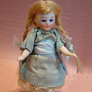 4-1/4 in. Antique French All Bisque Mignonette, Glass Eyes, Swivel Neck