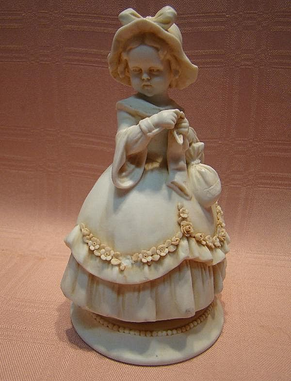 Superb Antique White Washed Porcelain Victorian Bonnet Child Figurine