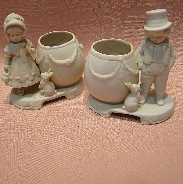Pair of Cute Porcelain White Unglazed Bisque Figurines with Bunny Rabbits