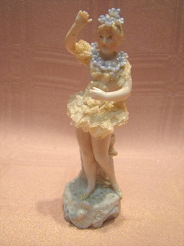 Lovely Porcelain Ballerina with Dresden lace and Flowers