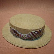 Vintage Unglazed Porcelain Hat that Looks Like Straw, Glazed Inside