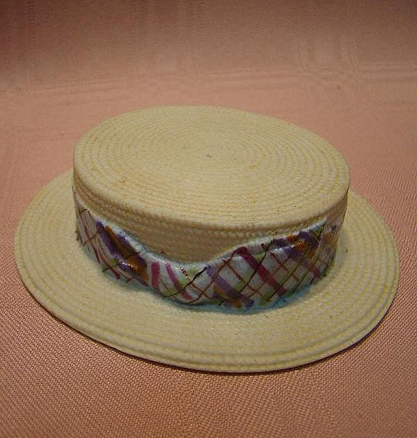 Vintage Unglazed Porcelain Hat that Looks Like Straw, Glazed Inside