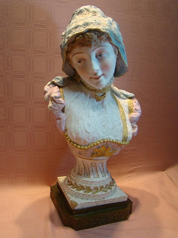 23-1/2 Inch Life-size Antique Porcelain Bust of Lady, Magnificent!