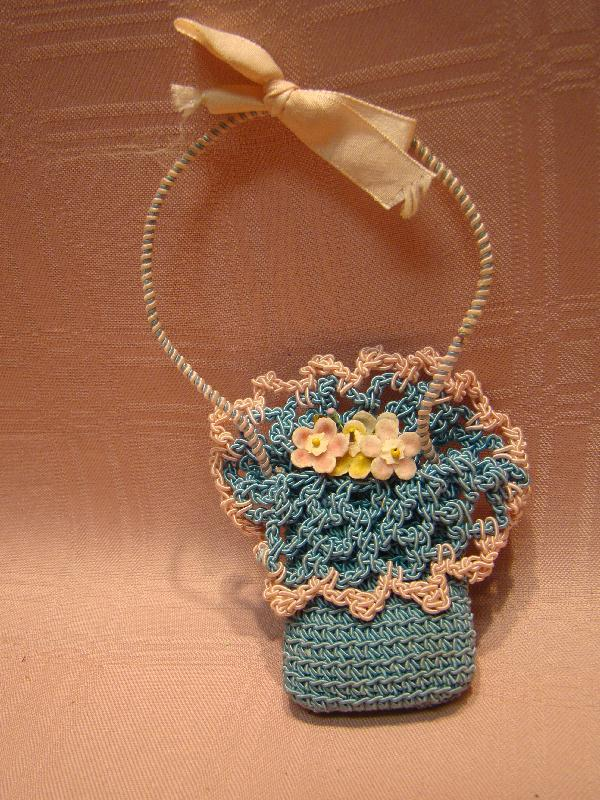 Vintage Dainty Doll Size Crochet Flowers and Basket for Doll to Hold