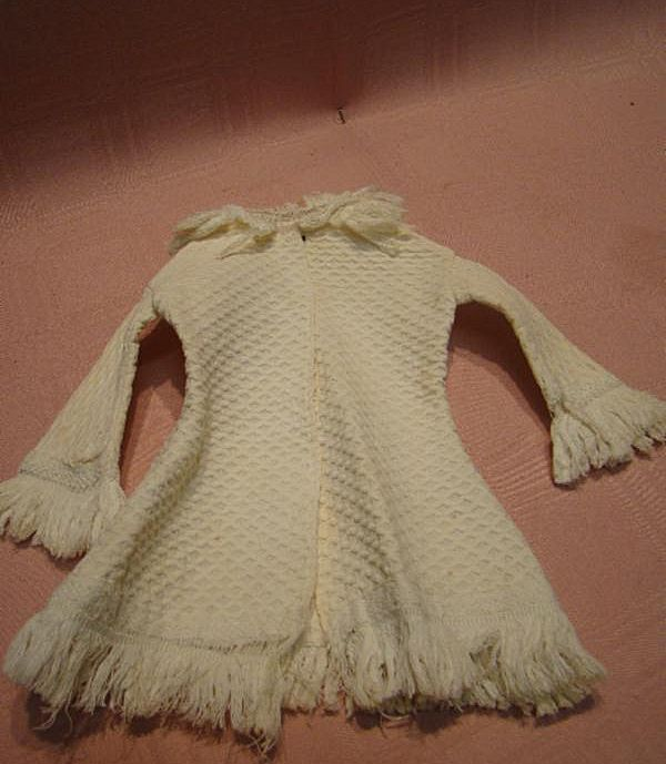 Antique French Fashion Coat in Off-White Waffle Textured Cotton Fabric with Fringe