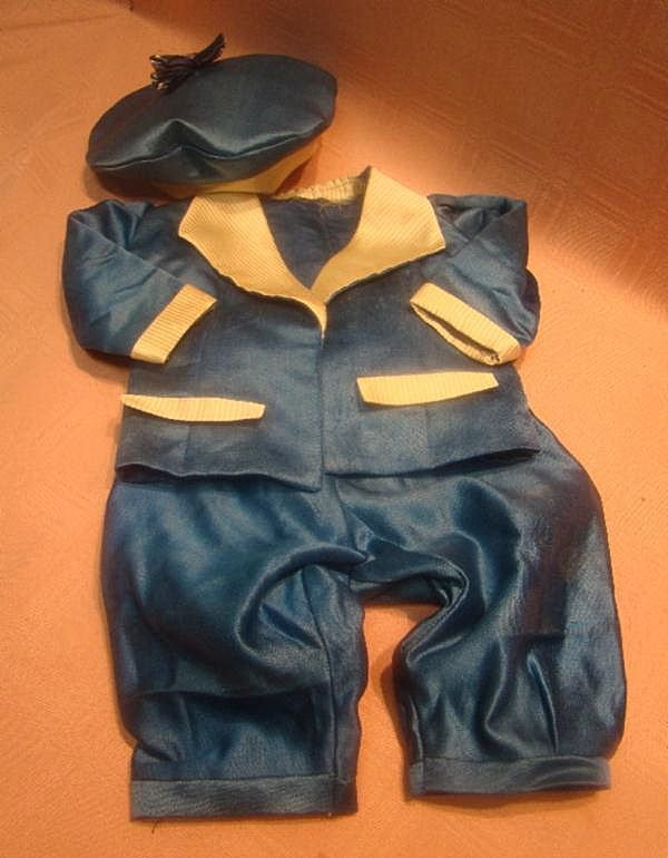 Vintage Silk Satin Two Pc Suit and Matching Tam for Antique Male Doll