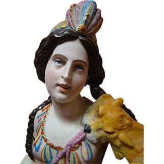 Large Breathtaking Porcelain 19th Century Native American Lady