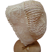 Antique Cotton Ecru Bonnet for Doll with 12-14 Inch Head Cir.