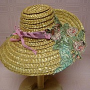 Vintage and Very Unique Doll's Straw Hat with Floral Applique'