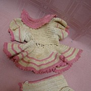Cute Vintage Knitted Outfit for Antique Toddler Doll 10-11 Inch