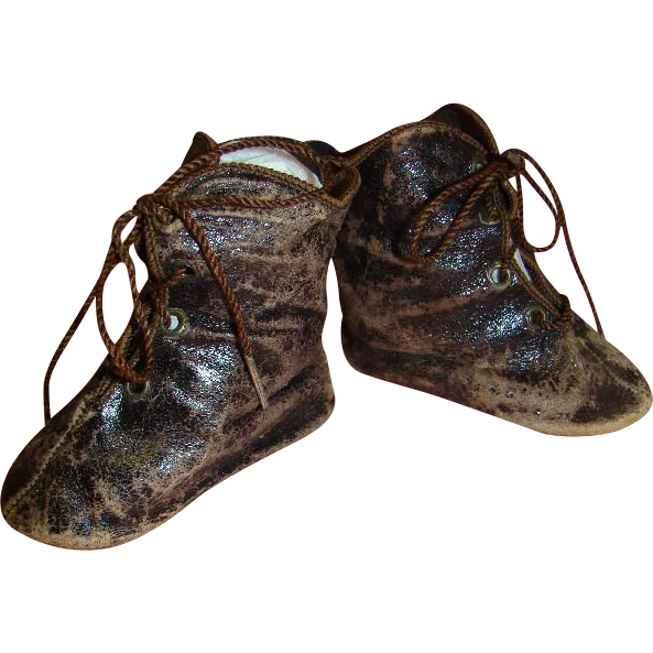 "Authentic French Leather Boots, Sz 12, for Large Bebe, Mrkd ""C.M."""