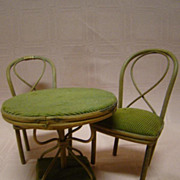 Beautiful Antique Doll-Size 3-Piece Bentwood Table, 2 Curved Back Chairs