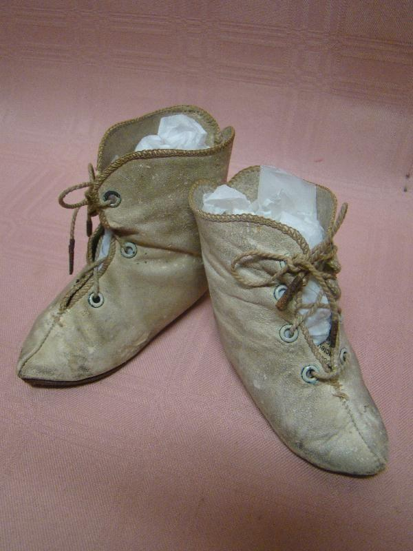 Antique French Leather Boots sz 11-12 Alart Symbol