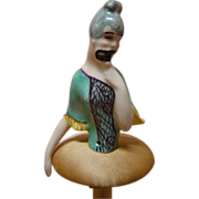 5-3/4 In. French Half Doll / Pincushion Doll Holding Mask