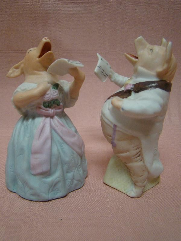 German Pair of Dressed Porcelain Singing Pigs, Amusing!