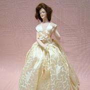 8-1/2 In. Unique One-Piece Wigged Half Doll Porcelain Base w Feet