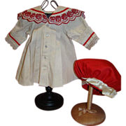 Silk Gabardine Dress and  Tam for German or French Antique Doll