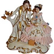 Lovely Dresden Piece with Lace-draped Lady and her Suitor