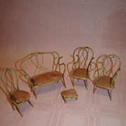 5 Pc. Set of Original Old Bentwood Style Miniature Doll Furniture