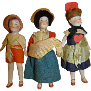 Lot / 3 Original Antique German All Bisque Dollhouse Dolls