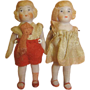 2-1/4 In. Pair / Original Antique German All Bisque Children