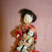 3-1/2 In. Antique Jtd. Japanese Mother and 1-3/4 In. Baby