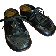 Black Leather Lace-up Child Shoes for Antique Doll