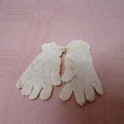 Vintage Ecru Tiny Knitted Doll Gloves for German or French Dolls