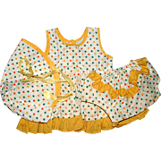 3 Piece Doll Outfit - Dress, Panties, and Hat